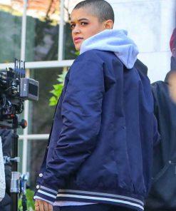 Julien Calloway Gossip Girl 2021 Jordan Alexander Blue Bomber Jacket