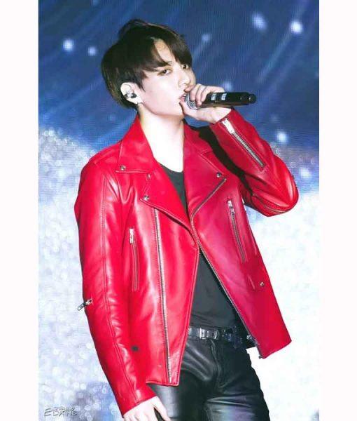 Joe Jungkook Red Biker Leather Jacket