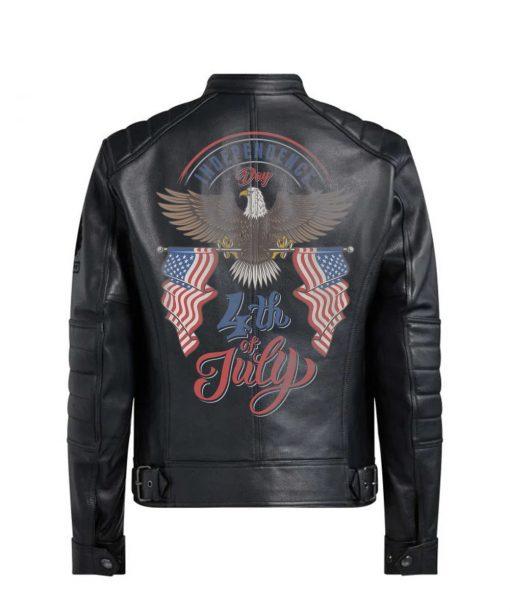 Bald Eagle Black Leather Jacket