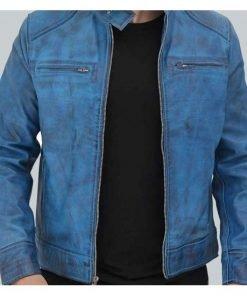 Dodge Cafe Racer Sky Blue Mens Leather Jacket