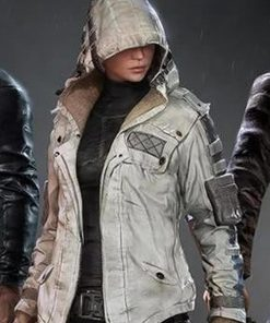 Women's PUBG Character White Leather Hood Collar Jacket