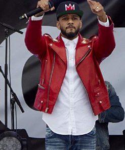 Red Biker DJ Swizz Beatz Empire Leather Jacket