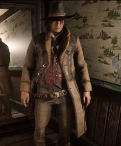 Game Red Dead Redemption II Montana Brown Shearling Trench Coat