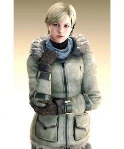 Sherry Birkin Resident Evil 6 Fur Hood Leather Jacket