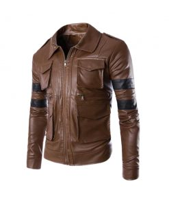 Leon Kennedy Resident Evil Brown Leather Jacket