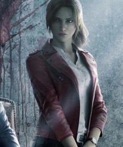 Game Resident Evil Infinite Darkness Red Biker Leather Jacket