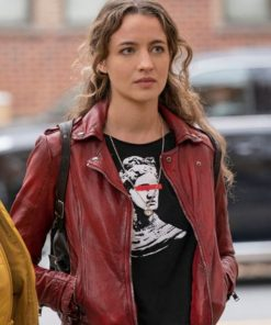 Stella Baker The Republic of Sarah Red Motorcycle Leather Jacket