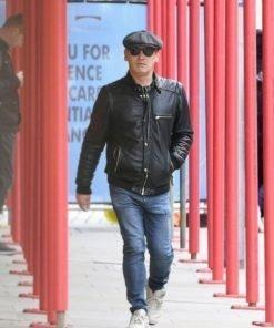 English Actor Sid Owen Black Leather Bomber Jacket
