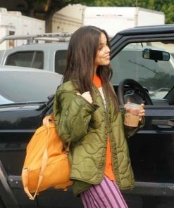 Jenna Ortega The Fallout 2021 Green Quilted Jacket