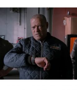 The Ice Road 2021 Laurence Fishburne Blue Puffer Jacket