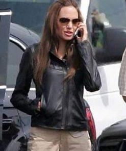 Thena Black Leather The Eternals Angelina Jolie Jacket