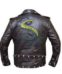 Game Fallout 3 Tunnel Snakes Rule Distressed Brown Leather Jacket
