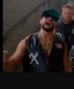 AEW Blood and Guts Santana and Ortiz Puerto Rican Flag Leather Vest