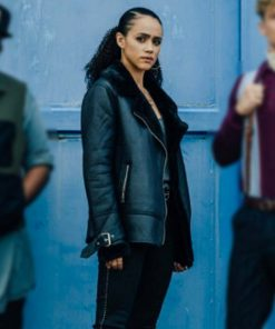 Nathalie Emmanuel Army of Thieves Black Leather Shearling Jacket