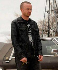 Jesse Pinkman Breaking Bad Black Aaron Paul Leather Jacket