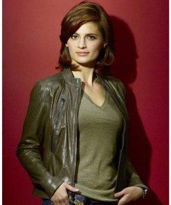 Stana Katic Beckett 2021 Green Leather Jacket