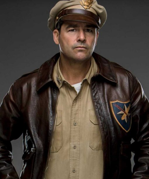 Kyle Chandler Catch 22 A2 Flight Colonel Cathcart Brown Bomber Leather Jacket