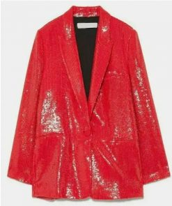 Lily Collins Emily In Paris Emily Copper Red Sequin Blazer
