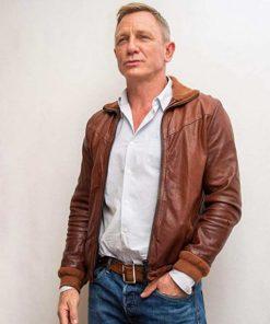 Benoit Blanc Knives Out Daniel Craig Brown Leather Jacket