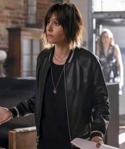 Katherine Moennig The L Word Generation Q Black Bomber Leather Jacket