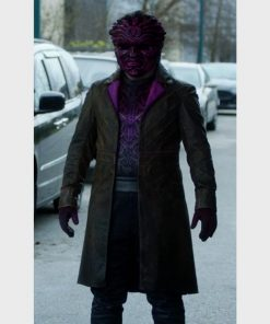 Ennis Esmer TV Series The Flash S07 Distressed Brown Leather Coat