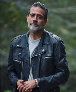 Jeffrey Dean Morgan The Walking Dead Season 11 Negan Black Leather Jacket