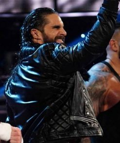 Seth Rollins WWE Black Fur Collar Leather Jacket