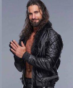 WWE Seth Rollins Jacket Black Fur Collar Leather Jacket