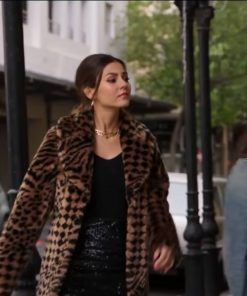Victoria Justice Afterlife of the Party 2021 Leopard Print Fur Coat