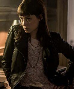 Astrid Bergès-Frisbey Black Leather Jacket