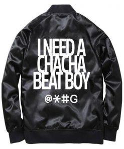 Cha Cha Beat Boy Black Satin Bomber Jacket