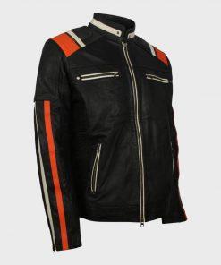 Cafe Racer Mens Black Vintage Motorcycle Striped Leather Jacket