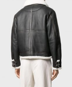 Men's Black Leather Jacket With White Shearling Collar