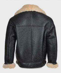 B3 Shearling Sheepskin Mens Black Leather Jacket