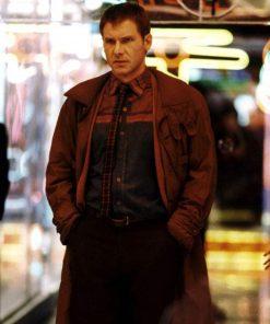 Harrison Ford Blade Runner 1982 Rick Deckard Brown Trench Coat