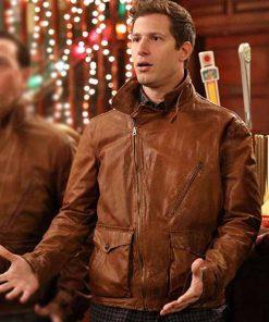Andy Samberg TV Series Brooklyn Nine-Nine Jake Peralta Brown Leather Jacket