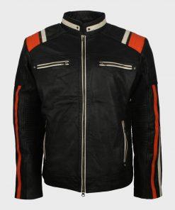Mens Striped Retro Biker Jacket