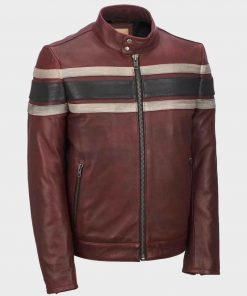 Mens Retro Red Waxed Vintage Jacket