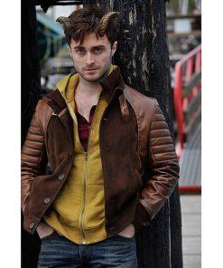 Daniel Radcliffe IG Perrish Horns Brown Leather Jacket