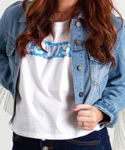 Destiny Hustlers Constance Wu Fringe Style Blue Cropped Denim Jacket