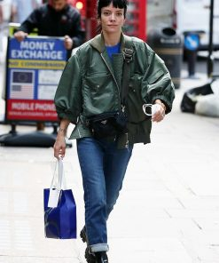 Shop Lily Allen Green Bomber Jacket Free Shipping