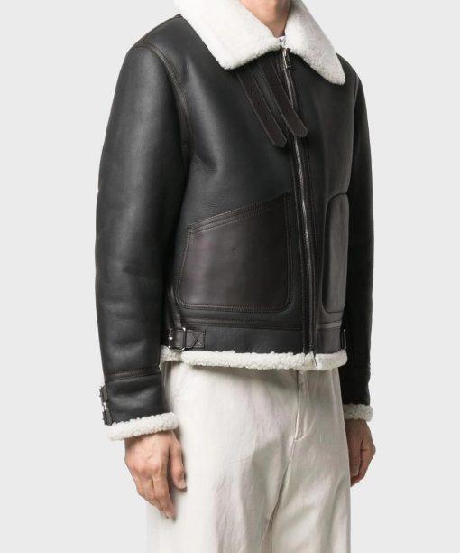 Black Mens Real Sheepskin Leather Jacket WHITE Shearling Collar