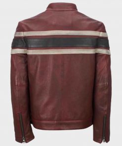 Café Racer Style Red Waxed Mens Retro Vintage Leather Jacket