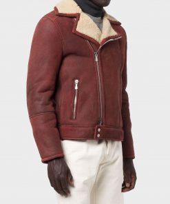 Asymmetrical Men's Burgundy Sheepskin Leather Shearling Jacket