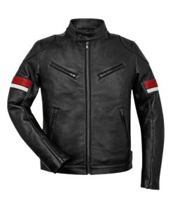 Men's Black Leather Red and White Striped Cafe Racer Jacket