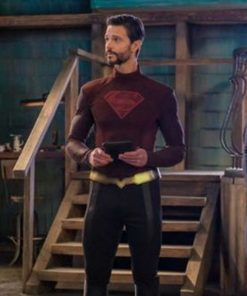 Supergirl-S06-Zor-El-Maroon-Leather-Jacket