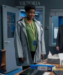 Sarah Niles TV Series Ted Lasso Season 2 Grey Cotton Hooded Coat