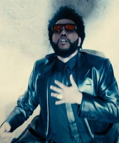 Take My Breath 2021 Black Leather The Weeknd Coat