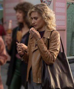 Teresa Riott TV Series Valeria S02 Brown Motorcycle Leather Jacket