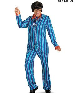 Mike Myers Blue and Red Austin Power Pinstripe Suit